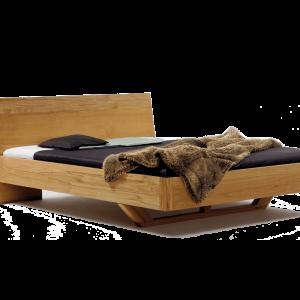 massief houten bed teun witte achtergrond